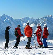 Shared shalet skiers
